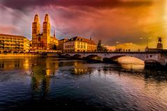 Zurich (ceca67) Tags: city november 2019 bridge river switzerland zurich grossmünster autumn light cityscape