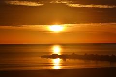 Sunrise - Amanecer (En memoria de Zarpazos, mi valiente y mimoso tigre) Tags: sunrise sun sea seascape silhouette seagull seashore breakwater skyfire skyred skyscape clouds beach mar sol amanecer aurora alba sole mare nikon