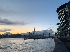 Thames Path at Dusk (marc.barrot) Tags: dusk shotoniphone cityscape towerbridge shard riverthames bluehour uk e1w london wapping wappinghighstreet thamespath