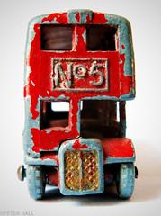 London Bus (peterphotographic) Tags: img8135ed1cb2camweddingedwm londonbus macromondays red canon canong15 g15 ©peterhall walthamstow eastlondon e17 london england uk britain toy bus matchbox lesney routemaster doubledecker battered old decay chipped paint five 5 no5 camerabag2 closeup macro