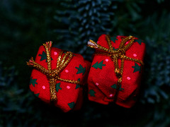Christmas decoration (ingrid eulenfan) Tags: macromondays red rot weihnachtsdeko advent päckchen christmasdecoration decoration weihnachten christmas schleife gold