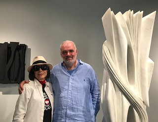 Artist Erika King with sculptor Pablo Atchugarry at his exhibition with Louise Nevelson sculptures at his Fundacion Pablo Atchugarry in Little Haiti.