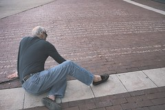 Writing Wrongs (Plane Sight Images) Tags: outdoors chalk sidewalk writing protest man color streetphotography