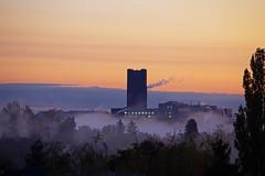 Morgennebel Ullsteinhaus Berlin 30.10.2019 (rieblinga) Tags: berlin tempelhof ullsteinhaus morgens nebel sonnenaufgang 30102019 bäume