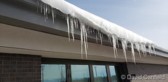 November 27, 2019 - Big icicles hang from a building. (David Canfield)