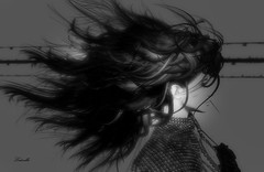 Hair (Ladmilla) Tags: sl secondlife portrait hair blackandwhite shadows gallery art artgallery digitalart artexhibition theedgeartgallery photography poetry poem poet texturized textured