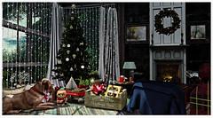 479 Christmas decorations (dolceluna_myoo Photographer) Tags: gacha sl bloggers secondlife autumn christmas decor homes holidays thor applefall rezzroom living fireplace labrador animals color rug nutmeg