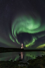 The Genie (Kjartan Guðmundur) Tags: iceland ísland auroraborealis northernlights norðurljós nightscape nocturne nightphotography nature nordlys night lighthouse shore reflection serene canoneos5dmarkiv sigma14mmf18art kjartanguðmundur