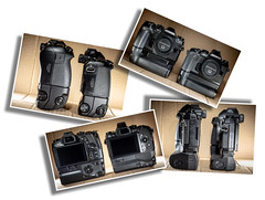 Olympus. O-MD E-M1 mk l and mk ll. (CWhatPhotos) Tags: cwhatphotos flickr photographs photograph pics pictures pic picture image images foto fotos photography olympus micro four thirds 43 cameras body omd em1 mkl mkll compare comparison versus size battery grip including with hld9 hld7