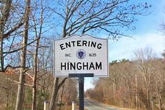 Hingham, MA (Stephen St-Denis) Tags: hingham massachusetts plymouthcounty townline sign enteringmass