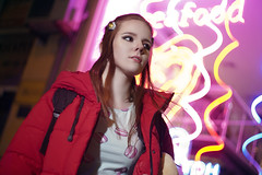 DSC00625ed (kolomiichenko.vladyslav) Tags: girl portrait night photography street streetphotography lights sony sonyalpha helios helios44m2 bokeh viltrox neon