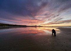 How it's done. (Maggie's Camera) Tags: beach sand dusk sunset reflections blue pink photography silhouette whitesands pembrokeshire wales december2019