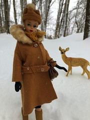 In the snow (Foxy Belle) Tags: deer plastic toy fawn snow outside winter trees barbie vintage doll blonde its cold coat hat gloves scarf ponytail woods forest