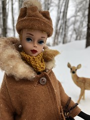 A visitor (Foxy Belle) Tags: deer plastic toy fawn snow outside winter trees barbie vintage doll blonde its cold coat hat gloves scarf ponytail woods forest