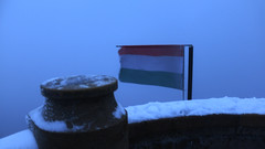 Top of observation tower (fargo_1980) Tags: winter mood atmosphere beauty wonder magic land landscape ice cold freeze frozen white night evening hill mountain lights tree forest wind flag hungary magyarország budapest top december dark scaninavian scandic north