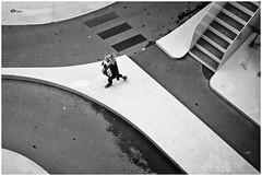 On Her Way (RadarO´Reilly) Tags: utrecht nl netherlands street streetphotography lines geometric sw bw schwarzweis blackwhite blanconegro monochrome noiretblanc zwartwit