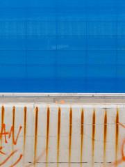 Footscray, Melbourne, Victoria, Australia. 2013-03-15 10:37:55 (s2art) Tags: melbourne melbpc3012 footscraypc3012 victoria australia rrl blue concrete public wall screening rust rustmarks screen screens sheild shield regionalraillink construction constructionsite an outdoor spraypaint streaks streak rustystreaks concretebarrier barrier minimal minimalism abstraction abstract colour colours color