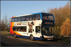 10730, Nectar Way (Jason 87030) Tags: 10730 nectarway pineham swanvalley northampton stagecoach midlands northants autumn autumnal trees colour golden shot roadside ee bus wheels red white blue orange buses mmc doubledecker lighting unny weather jasmine session 2019 uk england fleet transport 55 route service
