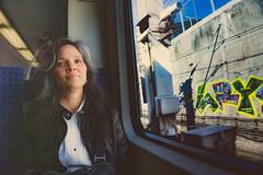 Train Ride (7austins) Tags: wife mom momof5 portrait beauty woman beautiful brunette graffiti train
