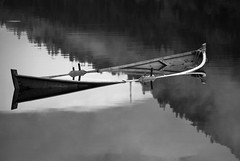 Gammel robåt -|- Old rowboat (erlingsi) Tags: rowboat robåt filled fyllt full sunken diagonal bnw svarthvitt diagonalen oppfylt sunket explored reflection spegling water shadesofgrey gråtoner volda opposingdiagonals sinking lightandshadow lysogskygge minimal minimalism