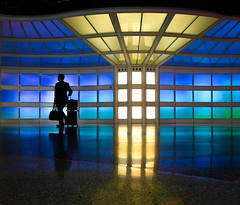 Departure (Greg Adams Photography) Tags: business travel suitcase lights panels blue yellow reflections reflection man traveler chicago ord chicagoohare ohare airport travels terminal unitedairlines united terminal1 theskysthelimit corridor tunnel departure walking stranger hhsc2000 eyecandy colour curved