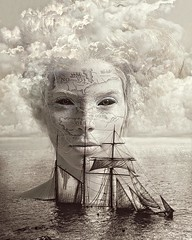 Siren (Vincent Mattina (aka FLUX)) Tags: siren sea ship shipwreck ocean clouds white sepia chart map myth terror odyssey