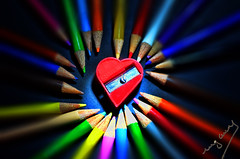 colored love (Ing. Cuevas) Tags: colorful colored coloredpencils pencilsharpener sharpener red bright vibrant love colors color pencils small tiny romance cute tender focus yellow contrast colores corazon lapiz macro macrofotografia