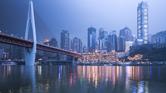 City on the River (kevinho86) Tags: 169 ef1635f4lusm eosr architecture art lightshadow citynights longexposures canon cityscapes city chongqing 重慶 reflection 橋 colour citylights wideangle water urban 都會 skyline skyscraper 建築 twilight sunset 天際線