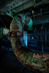 curved pipe (Aztravelgrl (Forgotten Places Photography)) Tags: buffalo grainsilo newyork silocity usa abandoned lightpainting longexposure lowlight americanwarehouse