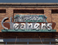 modern cleaners (Patinagal) Tags: signage sign relic patina decay brick commercial typography neon