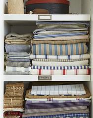 Labeled Linen Closet Shelves (Heath & the B.L.T. boys) Tags: label linens closet shelves stripes twine