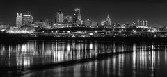 Mystic River (KC Mike Day) Tags: river two missouri kansas point kaw canon 85mm 18 monochrome image exposure long interest cityscape buildings downtown