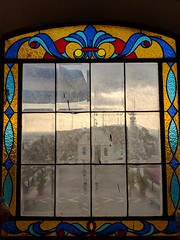 Lighthouse Window (Jane Inman Stormer) Tags: ecuador guayaquil stainedglass beveled window church lighthouse square sunset view glass historic museum fort southamerica latinamerica cloudy dirty explore inexplore 414