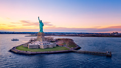 Liberty Statue at sunset (Eduard Moldoveanu Photography) Tags: aerial aerialview america american architecture building city cityscape destination drone famous freedom harbor historical history hudson hudsonriver island lady landmark liberty libertyisland libertystatue manhattan manhattanskyline monument nationalmonument new newjersey newyork newyorkcity ny nyc river sculpture sky skyline statue statueofliberty symbol tour tourism tourists travel urban usa view water york