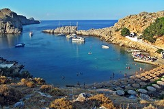 little bay :) (green_lover (your COMMENTS are welcome!)) Tags: bay sea lindos rhodes greece beach water rocks landscape travels boats