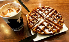 A waffle and a chai latte.. wonderful combo in the winter (Otima) Tags: sugar sweet brown noperson waffle dessert drink coffee deville devils