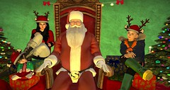 Visiting Santa (cadeSL) Tags: sl secondlife virtual christmas world santa claus father xmas elves reigndeer snow winter ride sleigh village mom sister brother son family visit