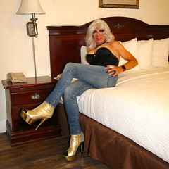 Cortney - Platinum Blonde relaxing in her hotel room (Cortney10100) Tags: cortney anderson black nylons portrait xdresser feminized cd transvista mtf m2f tv tg tgirl tgurl transgender heels highheels femme tranny trannie transsexual transvestite crossdress crossdresser stilettos thigh people blonde blond boots jeans