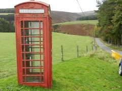 Red Telephone Box, Glensaugh, Oct 2019 (allanmaciver) Tags: glensaugh red telephone box iconic trees location fence fields narrow road allanmaciver