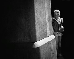 lost in moments (gro57074@bigpond.net.au) Tags: lostinmoments candidstreet 2470mmf28 tamron d850 nikon guyclift 2019 december cbd qvb georgestreet sydney candid woman monochromatic monotone monochrome mono bw blackwhite street shade light contrast