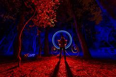 Promenons-nous dans les bois... (XP LiGHTS °°° LiGHTPAINTING is MAGiK °°° Pho) Tags: france luz les night photography noche photographie lumière noirmoutier nuit dans bois promenonsnous lflp blue red color rot colors azul rouge bleu blau couleur longexposure max lights nikon long exposure photos couleurs xp plus maxime d3s infinitexposure pateau photosplus nous promenons