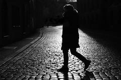 cross the street (heinzkren) Tags: schwarzweis blackandwhite noiretblanc biancoetnero street streetphotography silhouette woman people person dame frau spiegelung erfurt germany canon eosr urban outdoor innamoramento structure