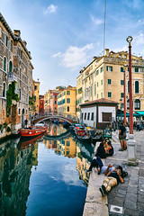 hanging out canalside (khrawlings) Tags: venice italy relfection water canal relax chill buildings bridge