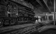End of the Shift - (Black and White Version) (photofitzp) Tags: timelineevents gwr railways steam didcot photocharter nightphotography absoluteblackandwhite