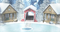 Winter Feelings (Bryan Trend) Tags: decor {what next} cabin fireplace pond bridge stones paving baubles christmas bench animations pg milk motion pines blog new post blogger sl secondlife second life