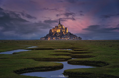 Mont Saint Michel (Antoni Figueras) Tags: france europe sunset montsaintmichel bluehour river dramaticsky architecture meanders abbey antonifigueras sonya7riii traveldestination