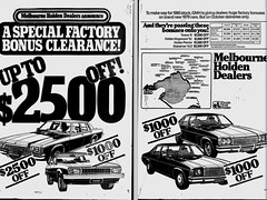 October1979No21 (mat78au) Tags: october 1979 melbourne newspaper extracts holden dealerships double page advert oct 79