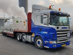 Scania 144L 460 from WSG Emmen Holland. (capelleaandenijssel) Tags: bfhd44 truck trailer lorry camion lkw netherlands nl well services group