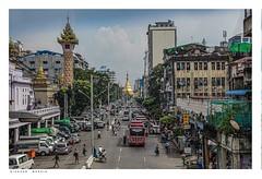 Sule Pagoda, Maha Bandula, Yangon (Rangoon), Myanmar, (Burma). (Richard Murrin Art) Tags: sulepagoda mahabandula yangonragoon myanmar burma sky town richard murrin art