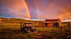 Sunset Double Rainbow in Bodie (Jeff Sullivan (www.JeffSullivanPhotography.com)) Tags: state historic park sunset weather bodiestatehistoricpark abandoned american wild west mining ghost town monocounty bridgeport california usa photography travel canon eos 5dmarkiv ef2470mmf28 lens photo copyright 2019 jeffsullivan june allrightsreserved rainbow hdr photomatix